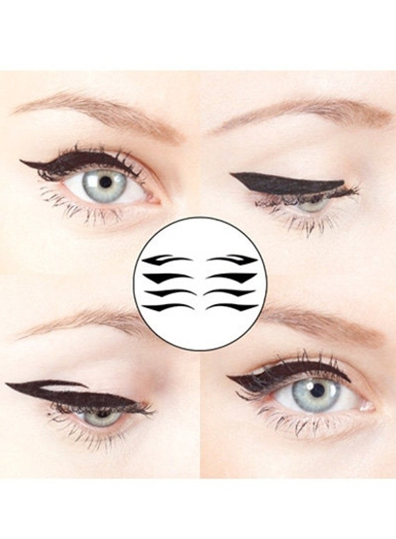 Eyeliner Applique 4 Pairs Black Winged Bridal Temporary Tattoo Masquerade  bachelorette bridesmaid christmas stocking stuffer accessories