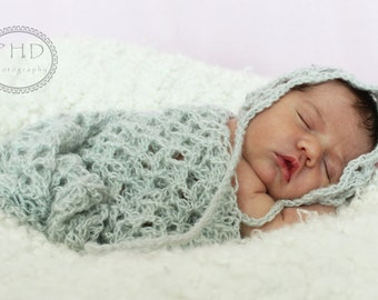 Crochet Pattern  - Lizbeth's Lace Bonnet and Wrap