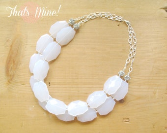 White statement Necklace with silver rhinestone ball, White double strand necklace