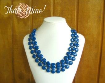 Navy blue statement  necklace, Vintage blue statement necklace, multi strand statement necklace