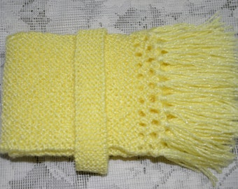 Handknitted Scarf Lemon Yellow, Christmas Gift for baby girl, Winter Accessories, Gift under 20, Gift for her, Handknitted, Woollen Scarf