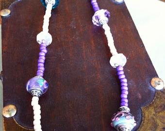 Purple Lampwork Bead Necklace
