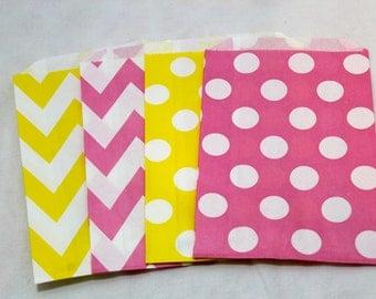 12 Pink yellow lemonaide lemonade birthday party bridal shower wedding theme paper goodie bags