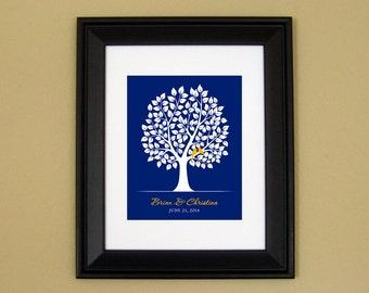 1st Wedding Anniversary Gift - Personalized Wedding Present - Engagement Gift for Bride - Tree with Love Birds - 8x10 or 11x14