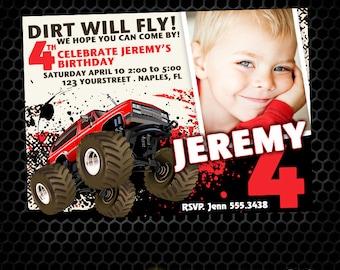 Monster Truck Printable Birthday Invitation