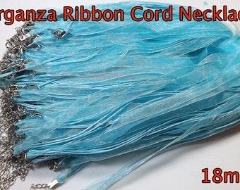 "20 pcs - Light Blue - Organza Silk Ribbon Cord Necklace 18"" plus 2"" extension - Silk Ribbon cord necklaces Baby blue"