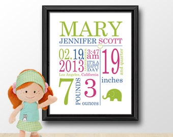 birth announcement birth stats print baby nursery decor new mom gift personalized baby gifts baby birth stats baby room wall art baby signs