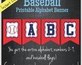 Baseball Printable Alphabet Banner - Instant Download