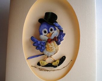 Handmade Decoupage,3D Father's Day Owl Dancing,BowlerHat SALE