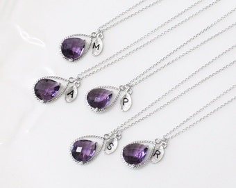 Bridesmaid gifts - Set of 2, 3 -Leaf initial, Amethyst purple crystal drop necklace, Gorgeous Drop ,stone in twisted bezel,Initial necklace