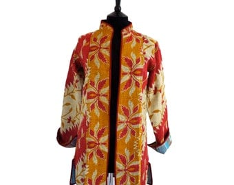 KANTHA JACKET - Small - Long style - Size 10/12 - Red off-white yellow flowers. Reverse turquoise and grey square pattern.