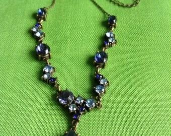Vintage AVON Blue Rhinestone Necklace (Item 111-M)