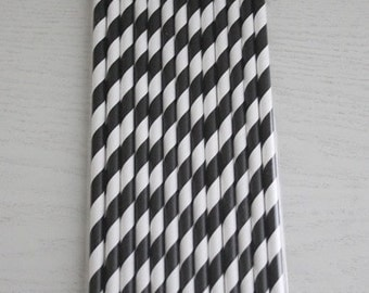 25 Paper Straws - Black Stripes