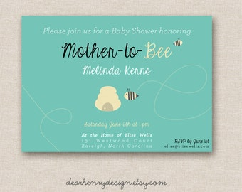 Mother to BEE Baby Shower Invitation - Mommy to BEE Printable Baby Shower Invitation - Bumble Bee Baby Shower Invite - Gender Neutral