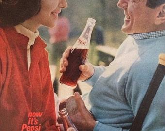 Vintage 1961 Pepsi-Cola Ad, Paper Ephemera from a Life Magazine.