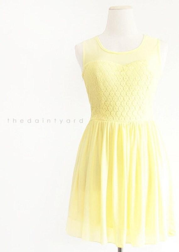 Yellow Chiffon Lace Dress Sweet Pastel Bridesmaid Dress