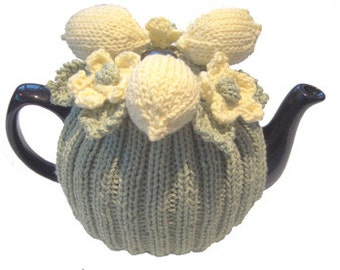 Hand Knitted Tea Cosy Patterns : Tea Rose Tea Cosy Hand Knitting Pattern. PDF.