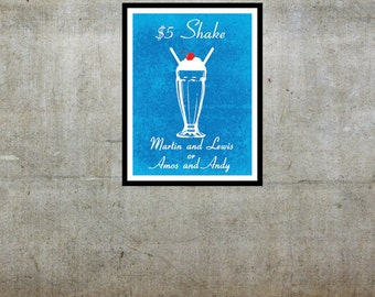 Five Dollar Shake - Pulp Fiction Inspired - Movie Art Poster