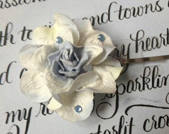 Blue& White Flower Bobby Pin w/Swarovski Crystals