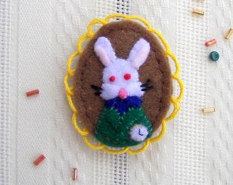 White Rabbit Character Felt Brooch
