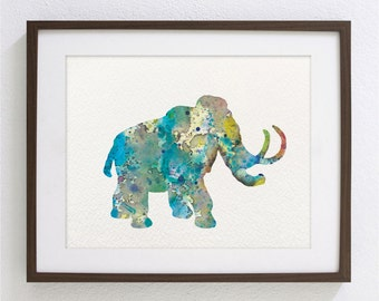 Mammoth Art Watercolor Painting - 8x10 Archival Print - Blue Mammoth Print - Teal and Gray Mammoth Silhouette