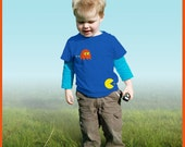 Pacman! Personalized kids t-shirts with Pacman figures (and the name of the child)