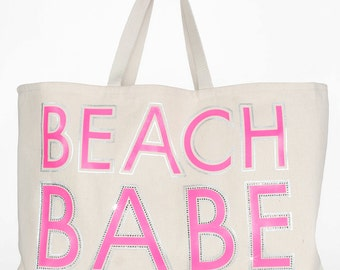 Beach Babe Pink Rhinestone Cotton Beach Tote