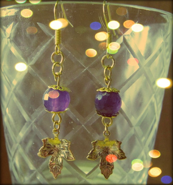 Handmade Gold Hook Earrings with Facetted Amethyst & Leaves by IreneDesign2011