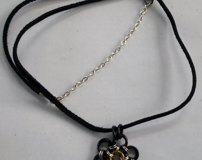 chainmail Necklace Batman color inspired with 24inch leather necklace 3 styles to choose from.
