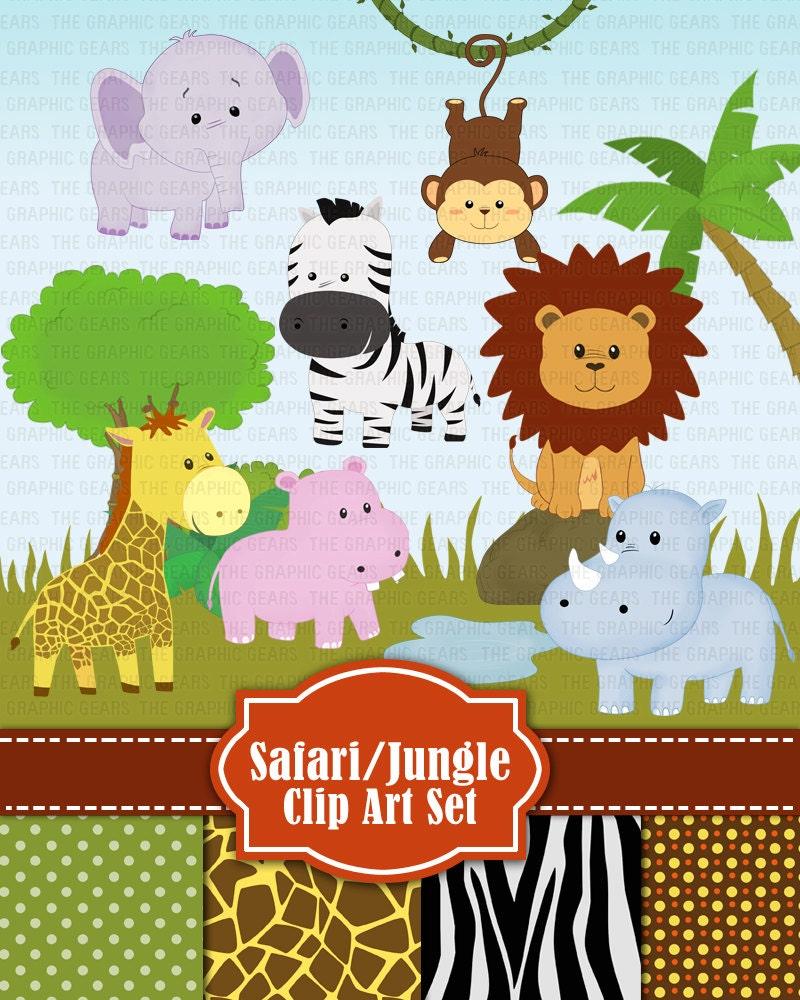 Jungle Safari Wild Zoo Animals Clip Art Jungle by GraphicGears