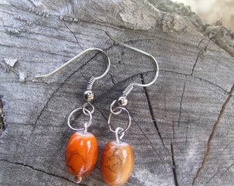 Small Orange Dangle Earrings