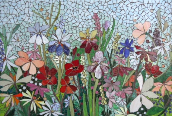 Mosaic mural floral glass garden mosaic panel for for Custom mosaic tile mural
