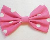 Hot Pink Hair Bow Clip Polkadot Bow Hot Pink Bow Hot Pink Clip Big Bows Polka dot Hair Bow for kids bows for women hair bow hairbows women
