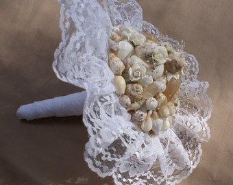 Seashell bouquet - wedding bouquet -  wedding keepsake - sea shell - peach bouquet - beach wedding destination