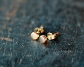 Gold Dot Studs, 14k Gold Stud Earrings, Organic Style Dots, 4mm Size Posts, Eco Friendly Recycled Metal, Simple and Sweet, Ethical Jewelry