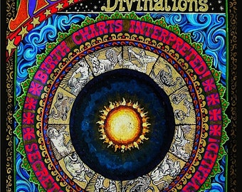 Astrological Divinations 5x7 Greeting Card Psychedelic Gypsy Circus Goddess Art