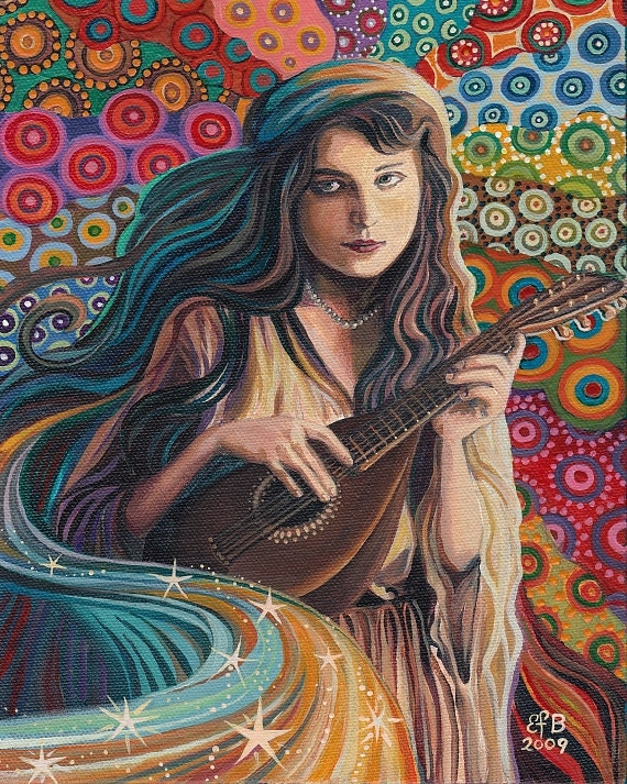 The Muse of Music - Art Nouveau Goddess Art 16x20 Poster Print