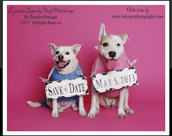 Save The Date Signs for the Dogs | Were Engaged | Newly Engaged | Reversible Signs | Save the Date | Wedding Signs | Engagement Sign | Pets