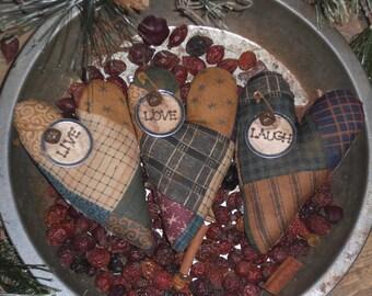 3 Primitive Fabric Faux Patchwork Hearts LIVE LOVE LAUGH Ornies Ornaments Tucks Bowl Fillers