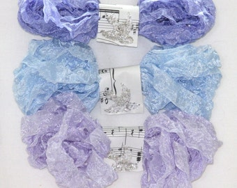 Shabby Seam binding - Crinkle Ribbon - WOODLAND PHLOX - Light Blue - Purple Ribbon - Periwinkle - 18 Yds. - Crinkled
