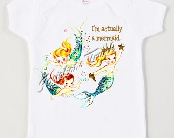 "Mermaid Shirt - Girl Mermaid Party - Toddler Mermaid Party - Pool Party Tank Tshirt - Vintage ""I'm Actually a Mermaid"" Retro Personalized"