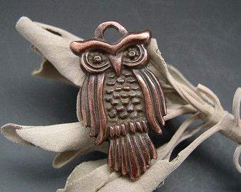 Naos - Greek Owl Pendant Charm Bronze 27mm - Animal Totem Talisman Amulet