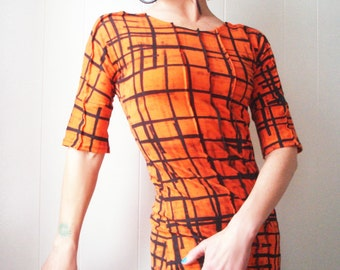 You Better You Bet - iheartfink Handmade Hand Printed Womens Orange Black Plaid Fitted Jersey Top