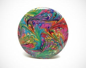 Marbled Magnet 1 Rainbow Marbled Paper 2.25 inch Round Magnet - Office, Kitchen, Refrigerator, Locker - Gifts Under 5 Dollars