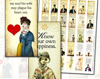 Jane Austen Quotes Sense and Sensibility 1x2 inch domino digital collage sheet  25mm x 50mm