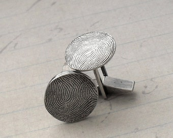 Fingerprint Cufflinks in Fine and Sterling Silver - Mens Gift - Made to Order Personalized