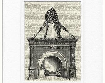 Giraffe print with 1851 Crystal Palace fireplace