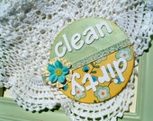 Sweet Blossoms Clean / Dirty Dishwasher Magnet / Aqua, Yellow, Mint Kitchen Decor