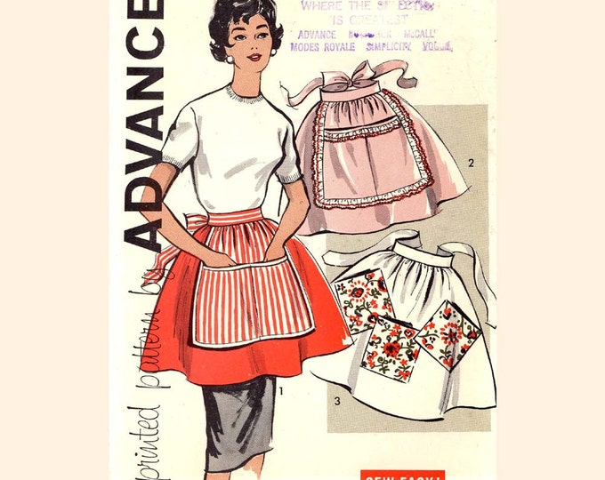 1950s half apron chef or bakers vintage sewing pattern 50s Housewife Advance 9565 Mid Century housewife