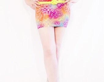 Agoraphobix Glamorama rainbow snakeskin print neon 90s mini skirt